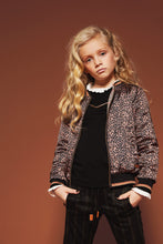 Load image into Gallery viewer, NONO Girls Leopard and Check Print Reversible Bomber Jacket