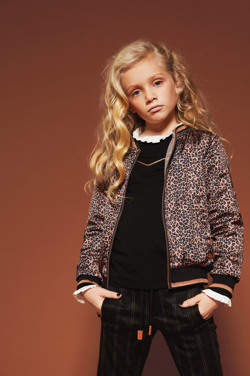 NONO Girls Leopard and Check Print Reversible Bomber Jacket