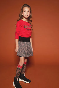 NONO Girls Leopard Print Crepe Satin Skirt