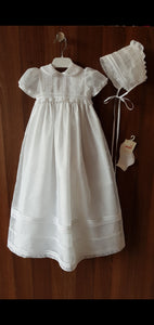 Carmy Christening Gown & Bonnet Unisex - Ivory