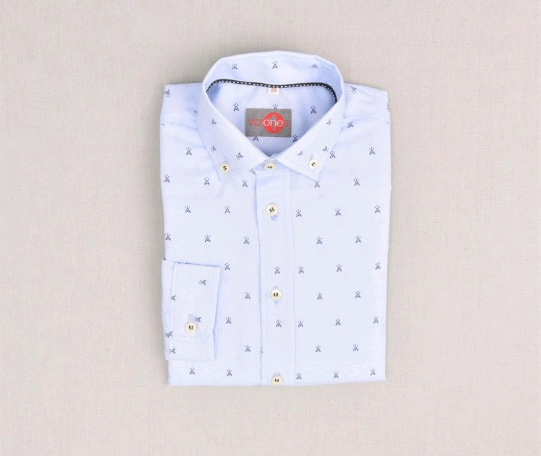 One Varone Boys Shirt - Blue With Blue Motif