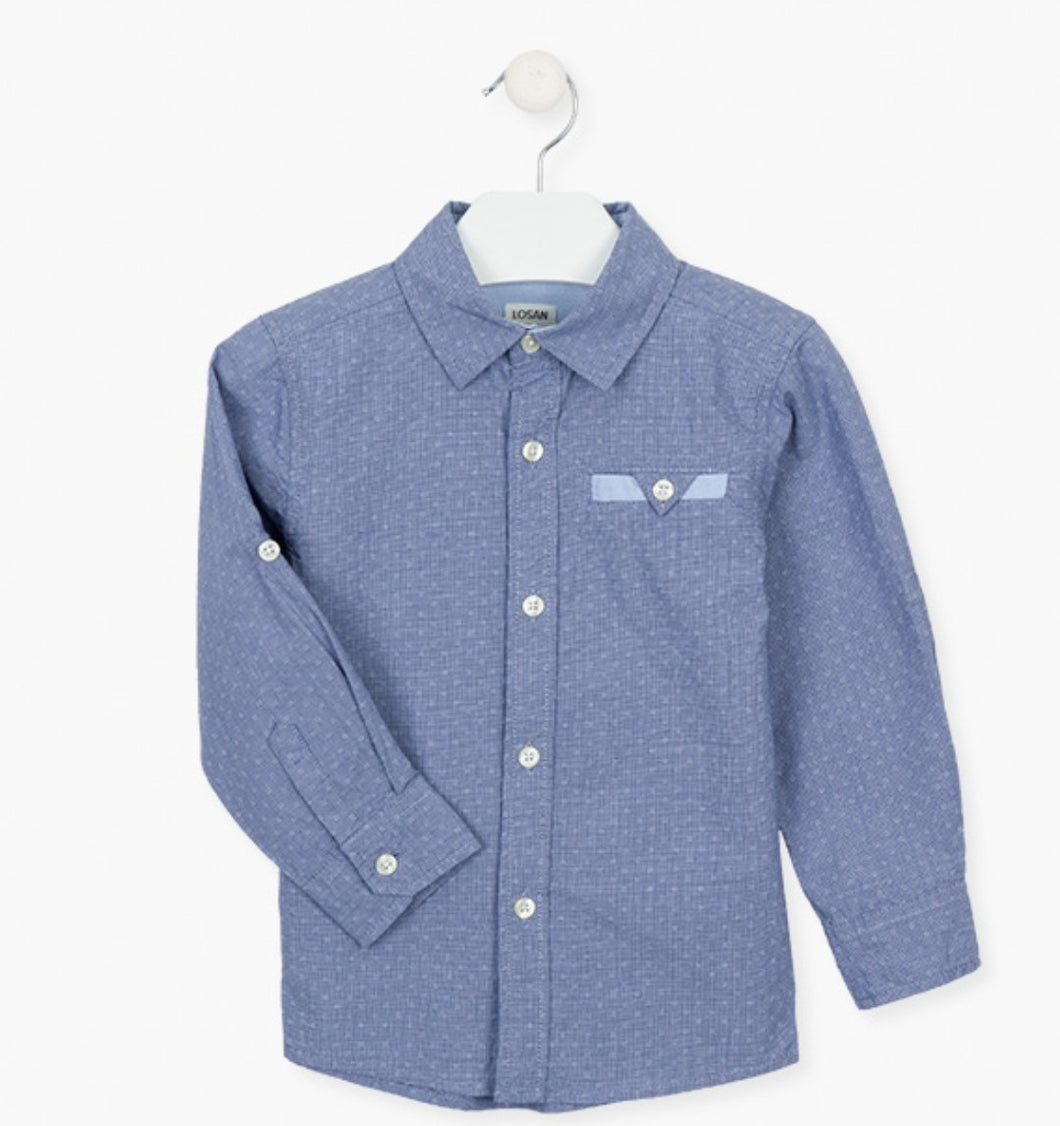 Losan Boys Long-sleeved cotton shirt in blue:- Blue