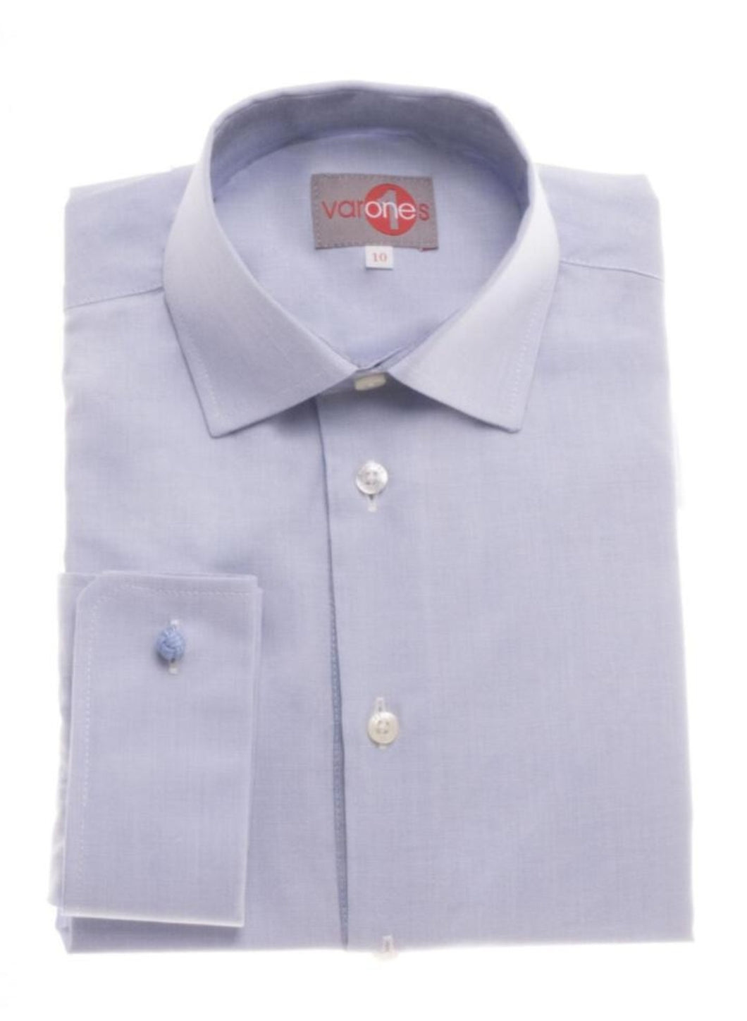 One Varones Boys Blue Shirt With Grey Collar Insert