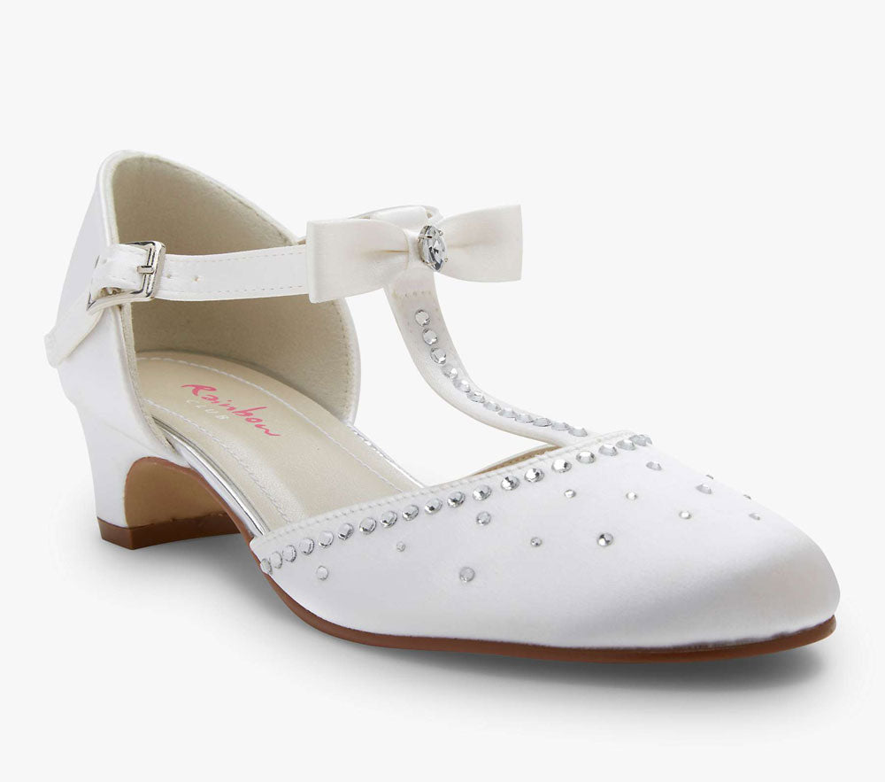 Rainbow Club 'Lemonade' - White Satin Shoes With T Bar