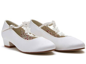 Rainbow Club 'Lolly'- White Satin Shoes With Diamante Butterflies