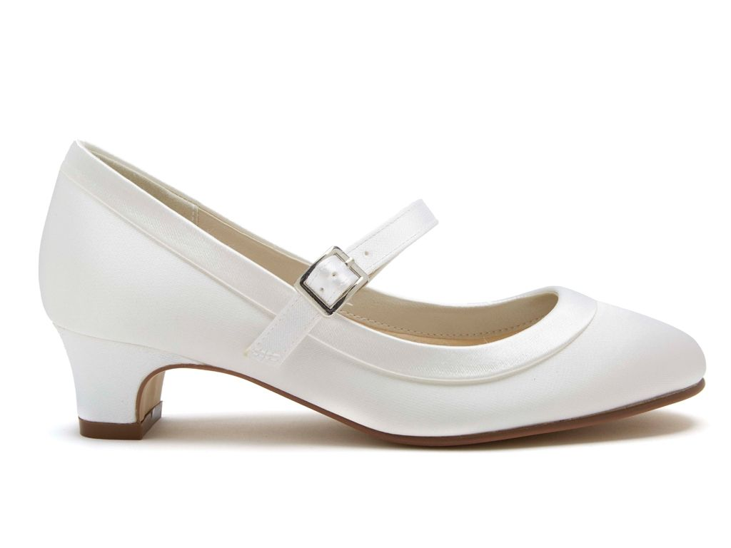 Rainbow Club 'Maisie' - White Satin Kids Bar Shoes
