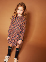 Load image into Gallery viewer, NONO Girls Orange And Navy Checked Dress