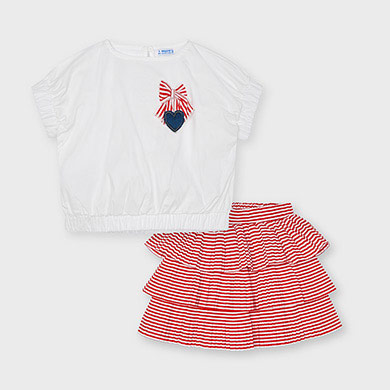 Mayoral Striped ruffle skirt set for girl