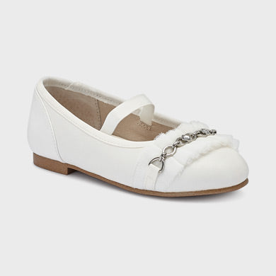 Mayoral Tulle pumps with chain for girl:- White