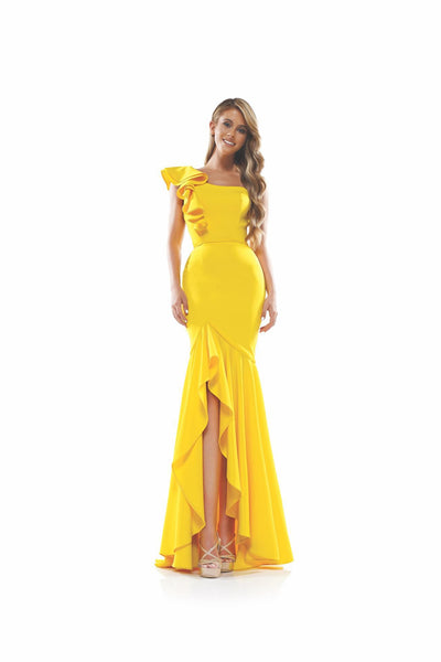 CO Ruffle Shoulder Gown