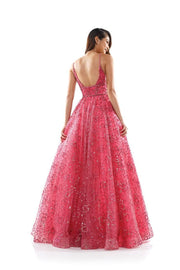 CO Beaded Coral Ball Gown