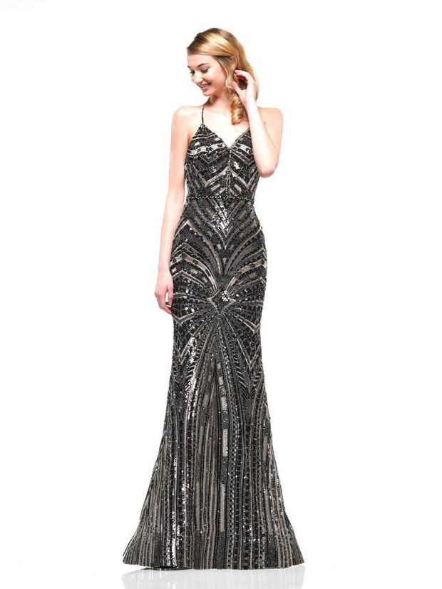 CO Beaded Sequin Gown