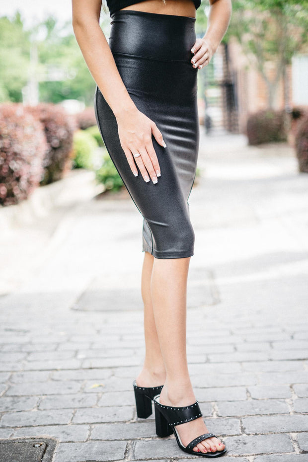 SPX Leather Pencil Skirt