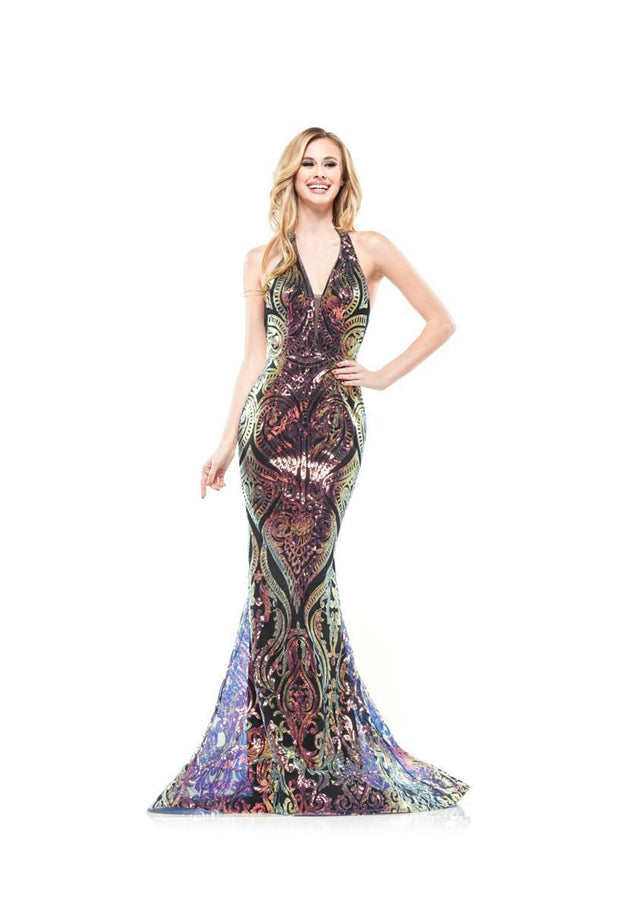 CO Multi-Color Sequin Gown