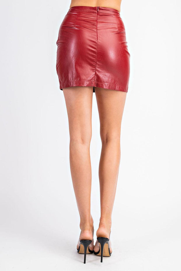 GM Ruched Leather Skirt