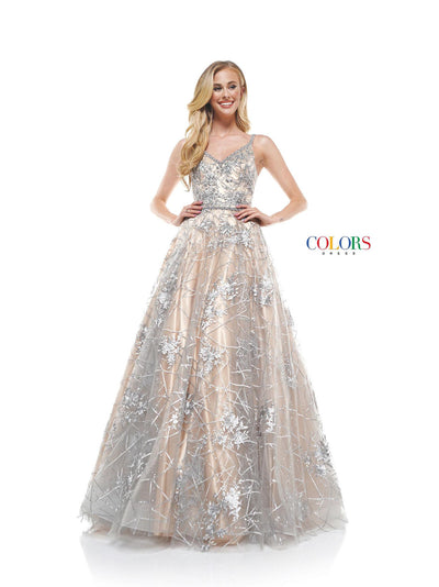 CO Sequin Flower Ball Gown