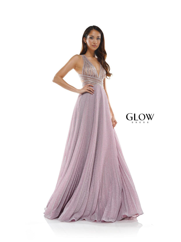 CO V-Cut Pleated Gown