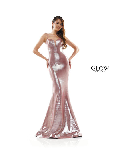 CO Metallic Fit & Flare Gown