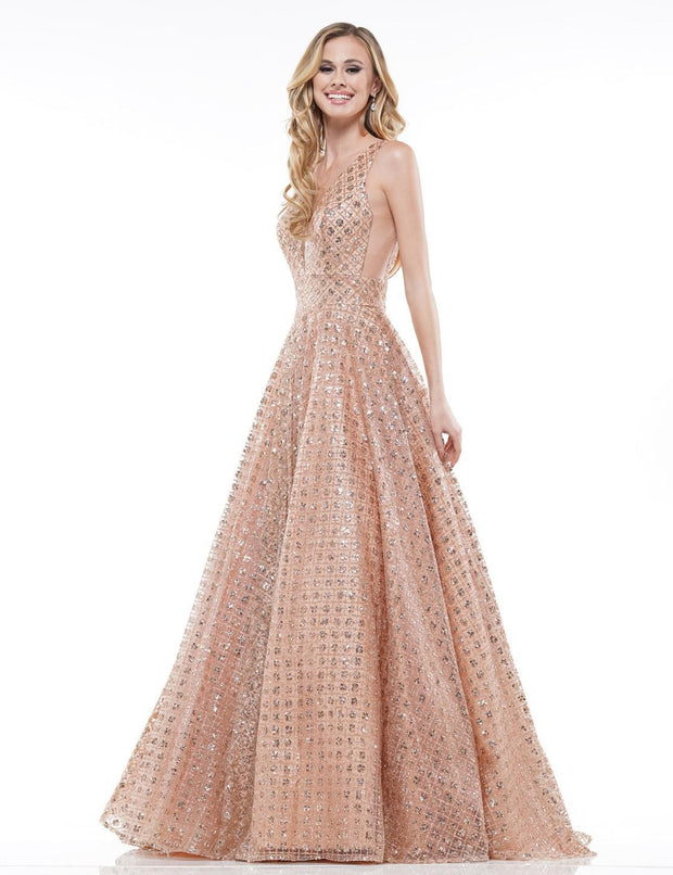 CO Mesh Sequin Ball Gown