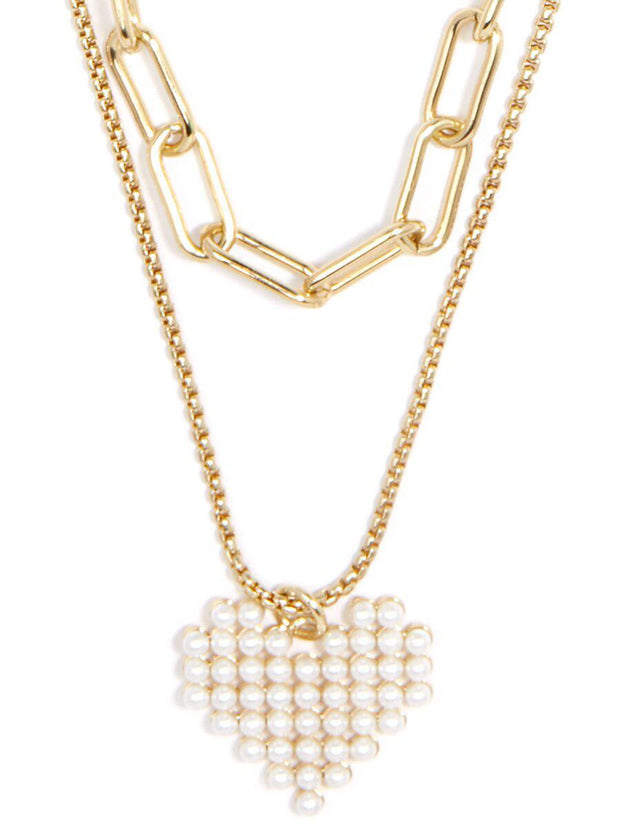 ZN Pearl Heart Chain Necklace