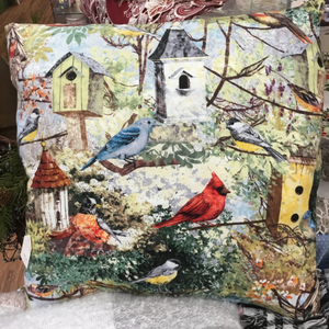 Fabric Birds & Birdhouses Pillow