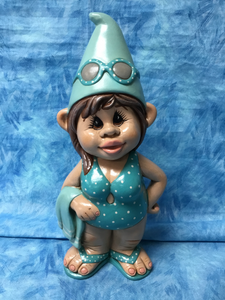 Tropical Beach Girl Gnome with Towel