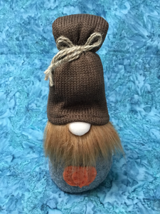 Fabric Autumn Gnome Boy Knit Cap with Pumpkin