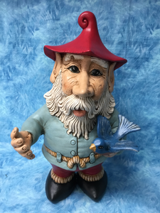 Woodland Man Gnome with Bluebird