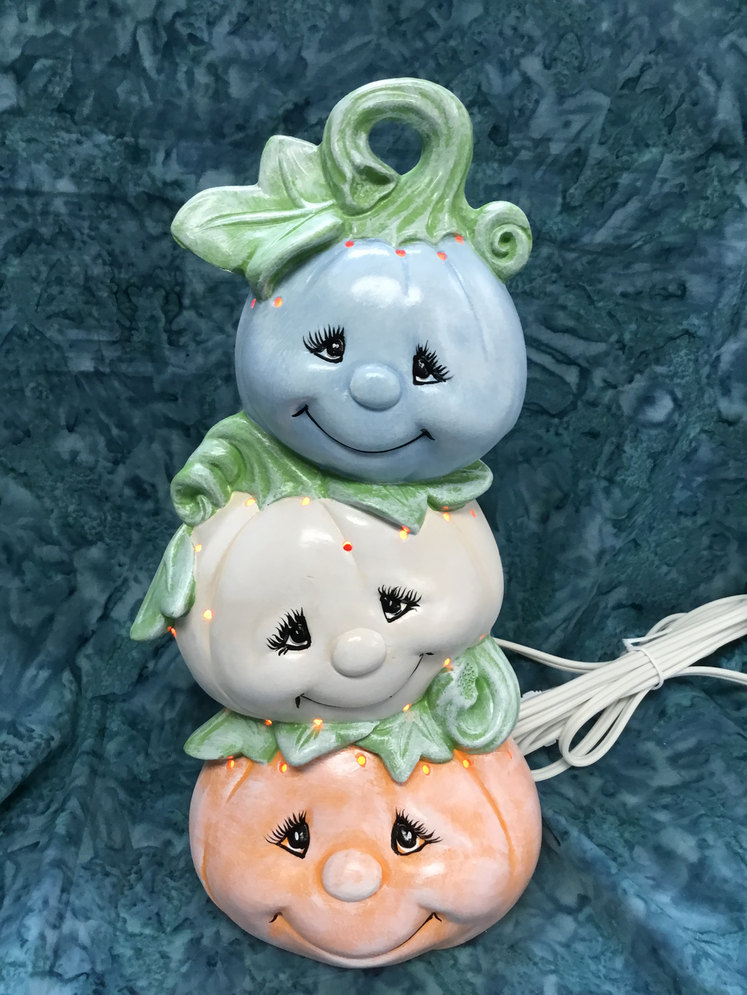 Autumn Ceramic Multi-Colored Cute Pumpkin Stack with Light
