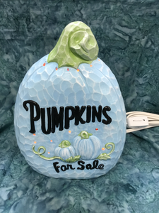 "Autumn Ceramic Blue ""Pumpkins For Sale"" with Light"