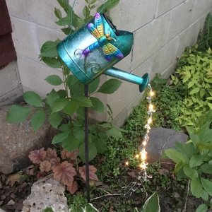 Solar Garden Art Teal Watering Can with Dragonfly