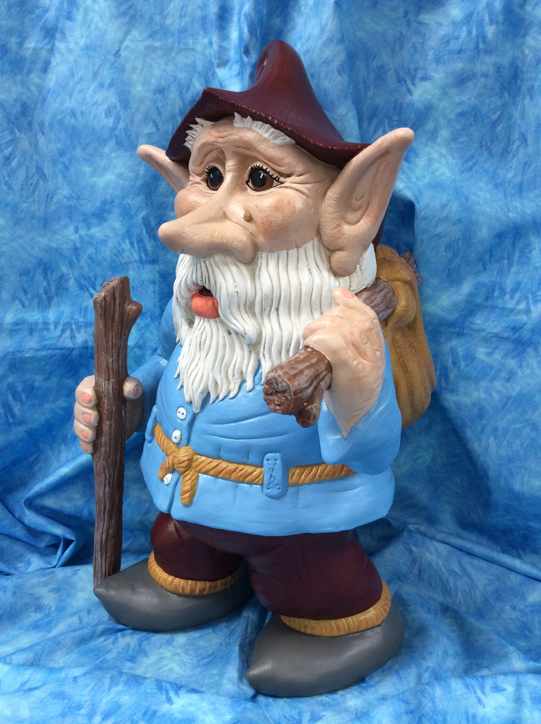 Woodland Hiker Man Gnome with Walking Stick & Knapsack