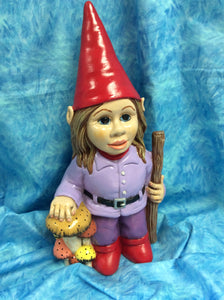 Friendly Girl Gnome with Walking Stick