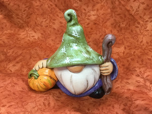 Autumn Ceramic Little Gnome with Pumpkin & Walking Stick