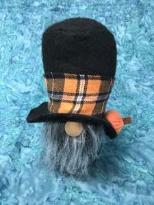 Fabric Autumn Gnome Orange Plaid Hat Band with Pumpkin On Hat