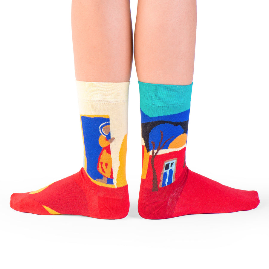 socks red blue yellow our village colorful socks artsocks