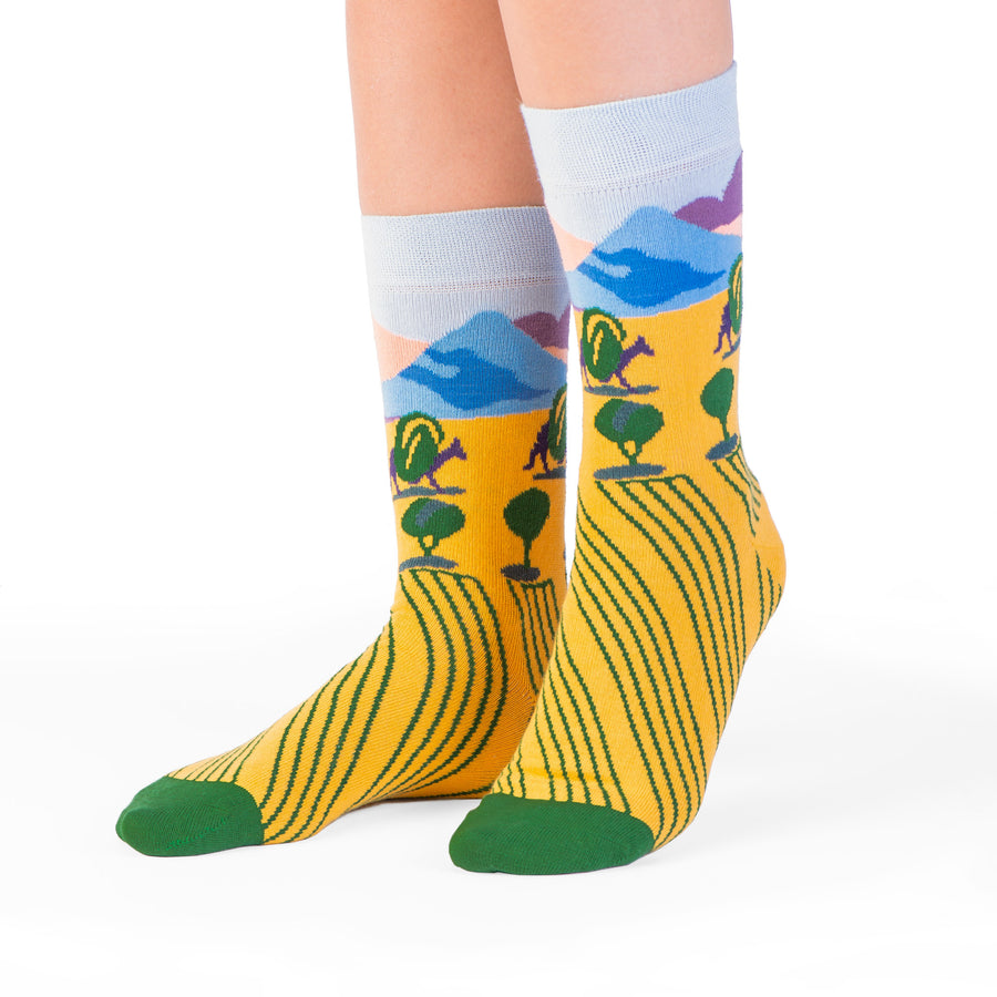 socks yellow landscape mountain colorful socks artsocks