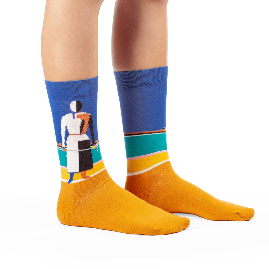 Woman with Rake by Kazimir Malevich colorful art socks artsocks