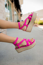 Load image into Gallery viewer, Pink Espadrille Platforms
