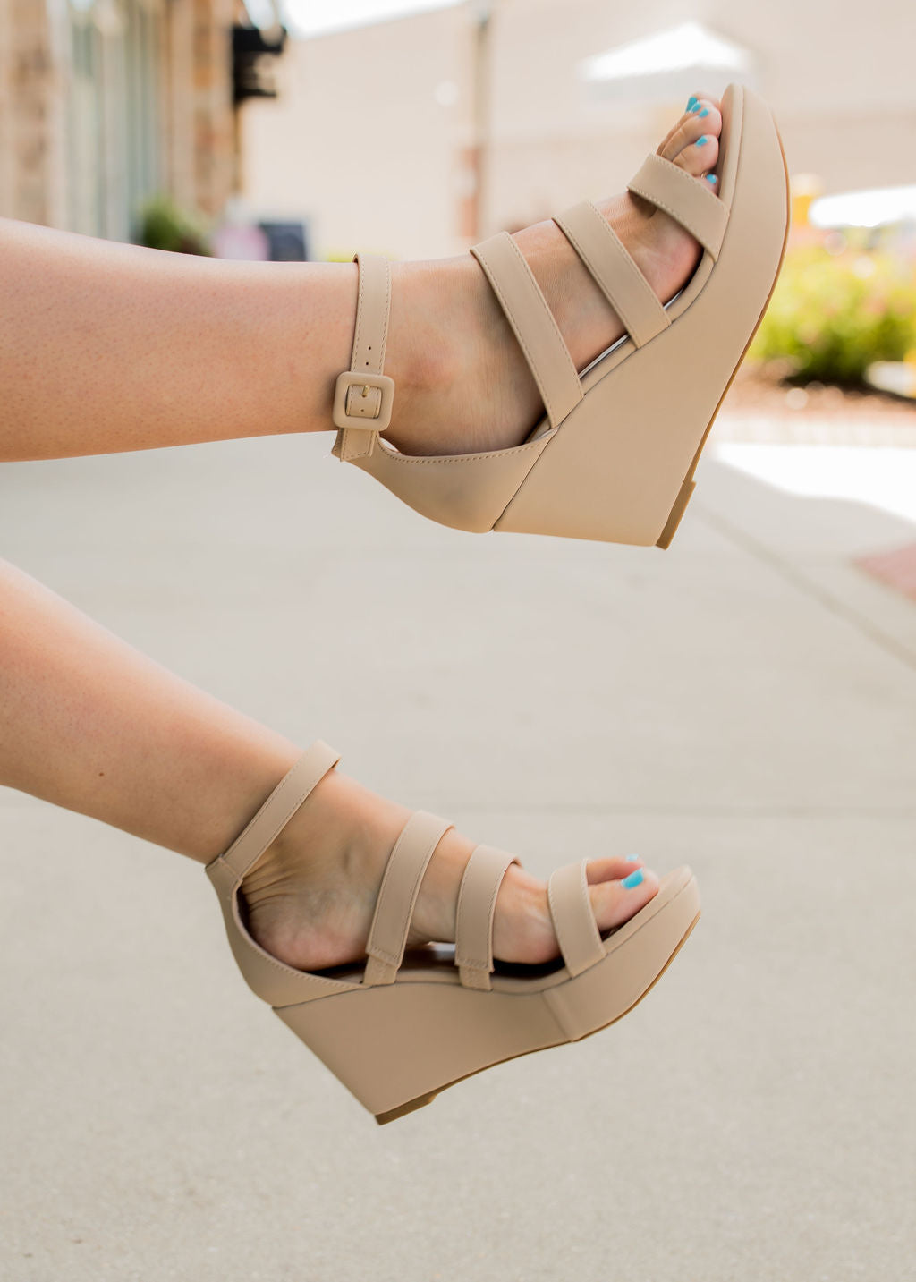 Nude Wedge Sandals