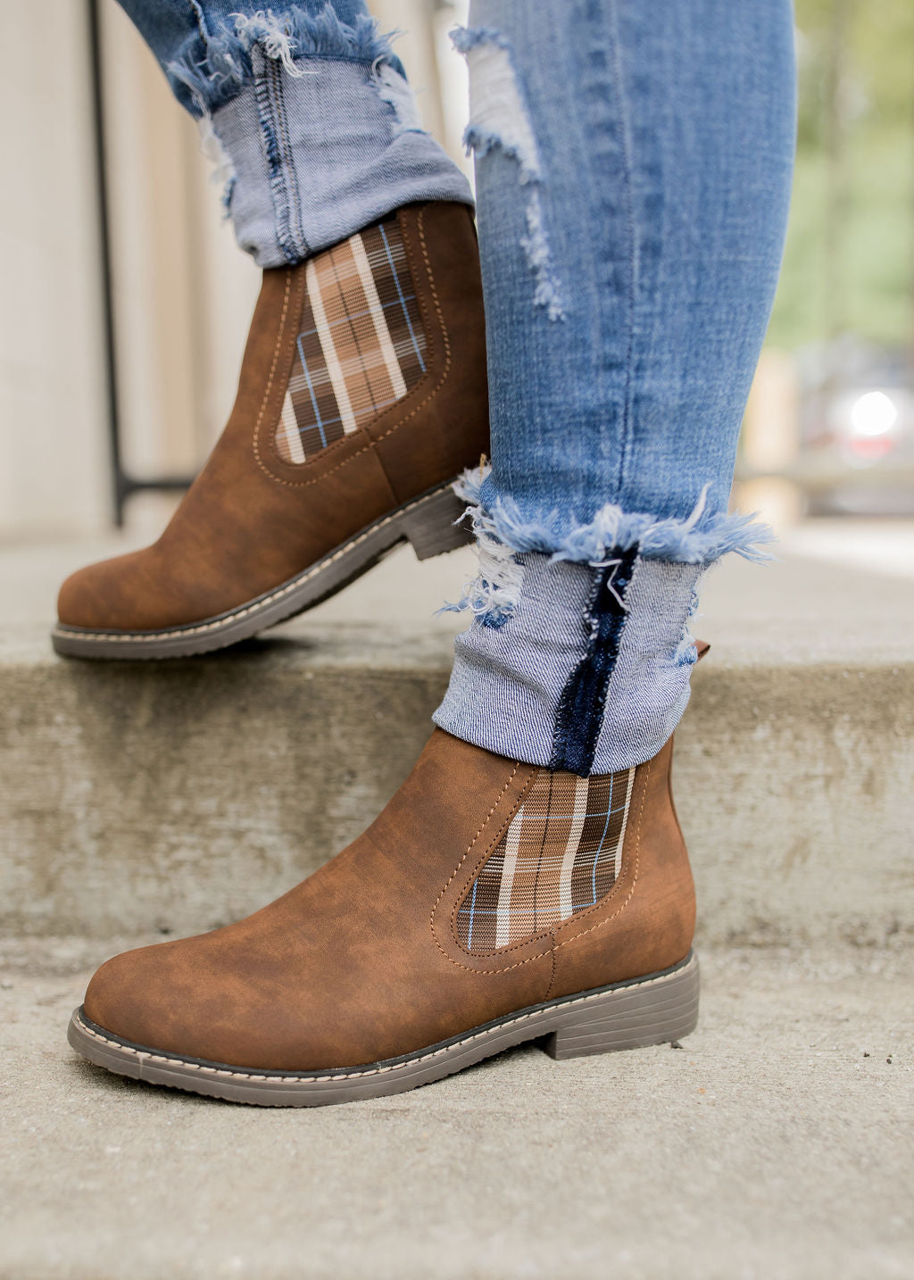 Brown Plaid Bootie