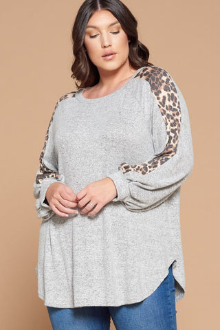 Brushed Knit Animal Print Top