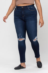 High Rise Distress Ankle Skinny