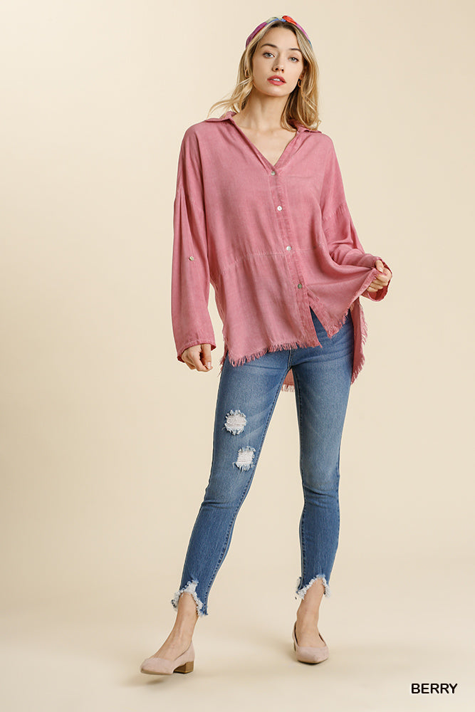 Mineral Washed Button Down Top