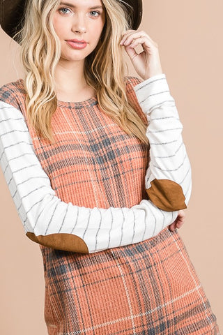 Plaid Elbow Patch Top