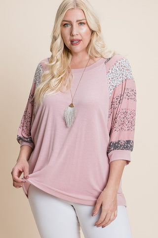 Plus Size Floral Dolman Sleeve Top