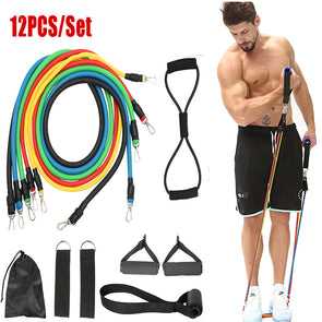 12pc fitness resistance bands set  elastic bodybuilding resistant r