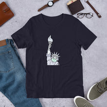 "Load image into Gallery viewer, ""Statue of Liberty Masked"" Unisex T-Shirt"