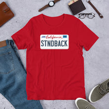 "Load image into Gallery viewer, ""CA Standback Licence Plate"" Unisex T-Shirt"