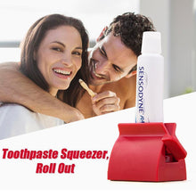 Load image into Gallery viewer, Rolling Tube Toothpaste Squeezer Toothpaste Holder Stand